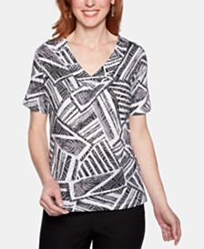 Alfred Dunner Petite Classic Printed Studded Top