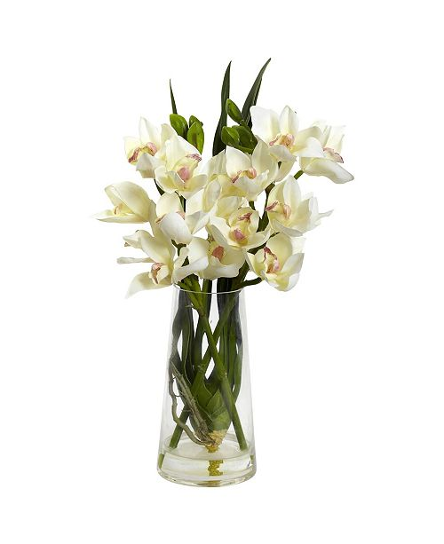 Nearly Natural Cymbidium Orchid w/Vase