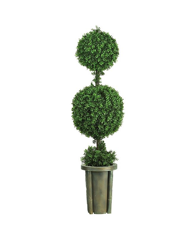 Nearly Natural 5' Double Ball Leucodendron Topiary with Decorative Vase