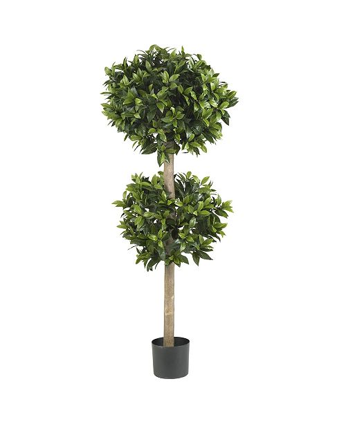 "Nearly Natural 57"" Sweet Bay Double Ball Topiary Faux Silk Tree"