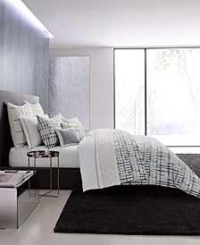 Shibori Grid White Duvet Cover Set, King