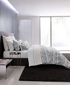 Vera Wang Shibori Grid White Duvet Cover Set, King