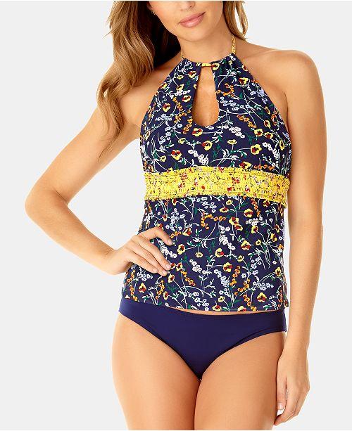 3a3e83ee83 ... Anne Cole Studio Wildflower Ditsy Printed Smocked Tankini Top & Bikini  Bottoms ...