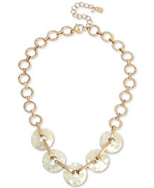 "Robert Lee Morris Soho Gold-Tone Imitation Mother-of-Pearl Faceted Shell Statement Necklace, 18"" + 3"" extender"
