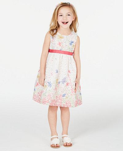 Blueberi Boulevard Little Girls 2-Pc. Shrug & Floral-Print Dress Set