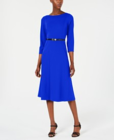 Calvin Klein Belted A-Line Dress