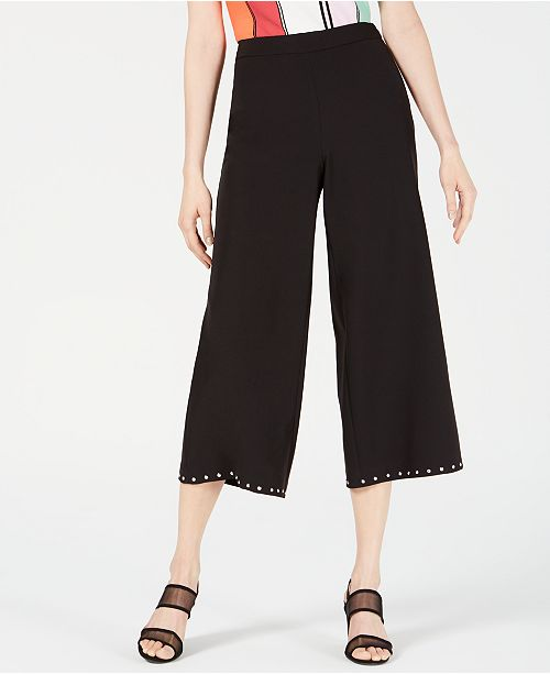 Bar III Studded Cropped Wide-Leg Pants, Created for Macy's