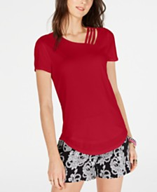 I.N.C. Short-Sleeve Asymmetrical Strappy Top, Created for Macy's