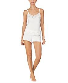 로렌 랄프로렌 파자마 세트 Lauren Ralph Lauren Flower-Lace Trim Camisole Top & Pajama Shorts Set,Ivory