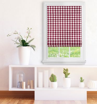 Cordless Buffalo Check Roman Window Shade 36X64