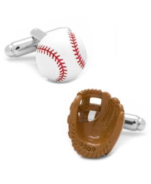 3D Baseball and Glove Enamel Cufflinks