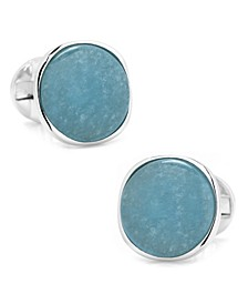 Sterling Classic Formal Aquamarine Jade Cufflinks