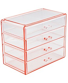 Cosmetic Makeup and Jewelry Storage Case Display - 4 Large Drawers