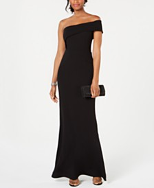 Betsy & Adam Asymmetrical Off-The-Shoulder Gown