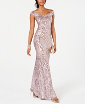 6b598c2b8cef0 Betsy   Adam Off-The-Shoulder Sequined Gown
