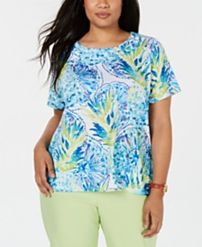 Alfred Dunner Plus Size Waikiki Braided-Trim T-Shirt