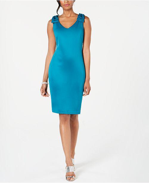 Connected Petite Bow-Shoulder Scuba Sheath Dress
