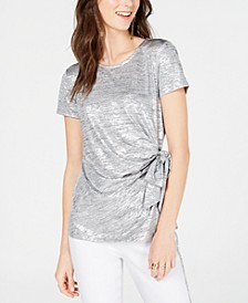 INC Side-Tie Shine Top, Created for Macy's
