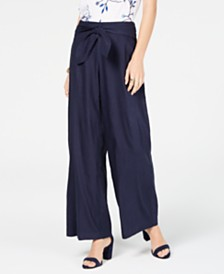 I.N.C. Wide-Leg Paper Bag Tie Waist Pants, Created for Macy's