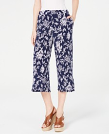 MICHAEL Michael Kors Printed Ruffled Cropped Pants, Regular & Petite Sizes