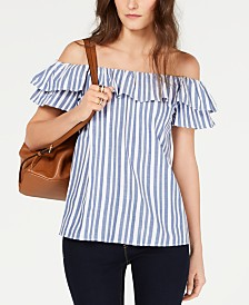MICHAEL Michael Kors Off-The-Shoulder Striped Top, Regular & Petite Sizes