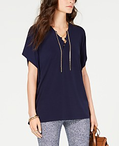 b7d2dc1297e MICHAEL Michael Kors Chain Lace-Up Top