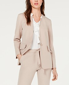 Nine West Ruffle-Trim Single-Button Blazer