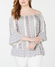 Style & Co Plus Size Printed Off-The-Shoulder Top, Created for Macy's