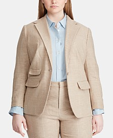 Lauren Ralph Lauren Plus Size Linen Blend Glen Plaid Blazer
