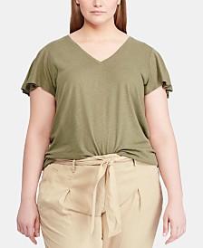 Lauren Ralph Lauren Plus Size Flutter-Sleeve T-Shirt