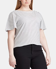 Lauren Ralph Lauren Plus Size Flutter-Sleeve Cotton Top