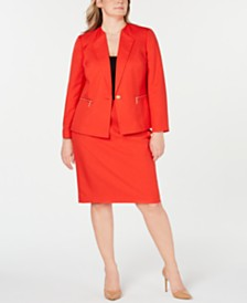 Le Suit Plus Size Zippered-Pocket Skirt Suit