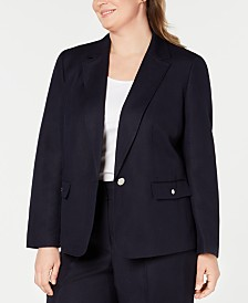 Nine West Plus Size Single-Button Blazer