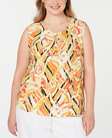 Kasper Plus Size Printed Pleat-Neck Keyhole Top