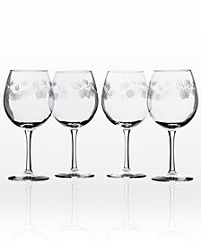 Icy Pine Balloon Wine 18Oz - Set Of 4 Glasses