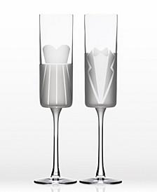 Wedding Cheers Series 1 (Dress/Tux) Flute 5.75Oz- Gift Box Set Of 2