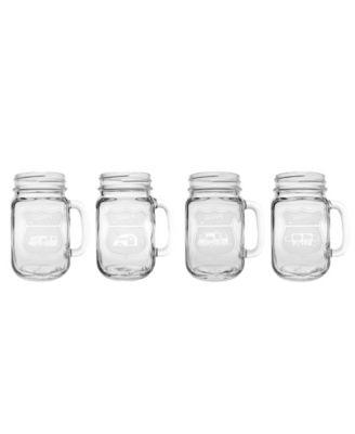 Happy Camper Travel Trailer Camper Jar 16Oz - Set Of 4 Glasses