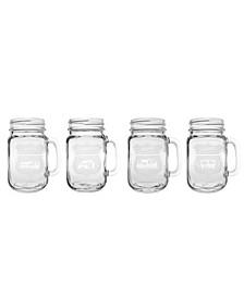 Happy Camper Assorted Camper Jar 16Oz - Set Of 4 Glasses
