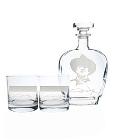 "John Wayne ""Quotes Series 2"" 3 Piece Gift Set - Whiskey Decanter And Rocks Glasses"
