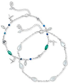 Lucky Brand Silver-Tone 2-Pc. Set Anklet Set, Created for Macy's