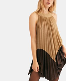 Free People Pleated Love Metallic Mini Dress