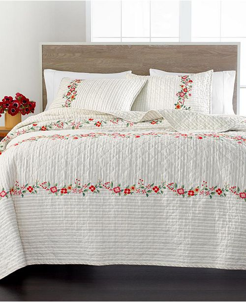 Martha Stewart Collection Embroidered Floral Quilt and Sham Collection, Created for Macy's