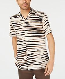 Tasso Elba Men's Zebra Graphic Camp Collar Silk Shirt, Created for Macy's