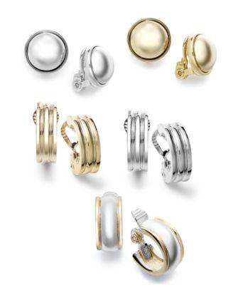 Silver-Tone Medium Ribbed Clip-On Earrings