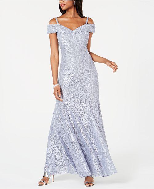 4fa113f63f R   M Richards Petite Off-The-Shoulder Lace Gown   Reviews - Dresses ...