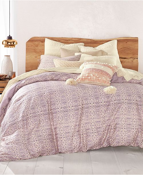 Lucky Brand CLOSEOUT! Distressed Tile 230-Thread Count Duvet Cover Sets, Created for Macy's