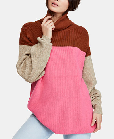Free People Softly Structured Colorblocked Turtleneck Sweater