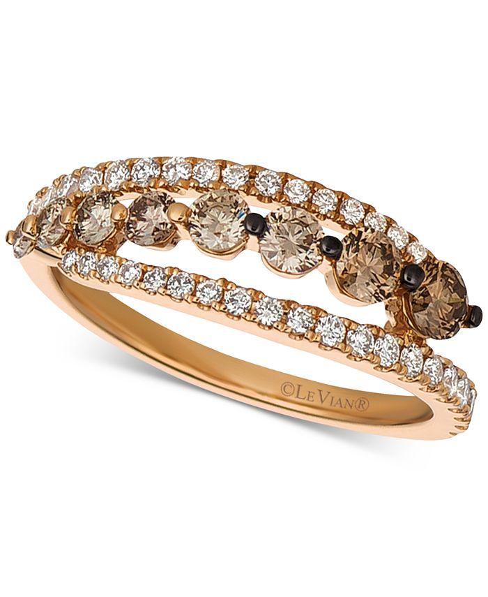 Le Vian - Chocolate Diamond (5/8 ct. t.w.) & Vanilla Diamond (1/3 ct. t.w.) Ring in 14k Rose Gold