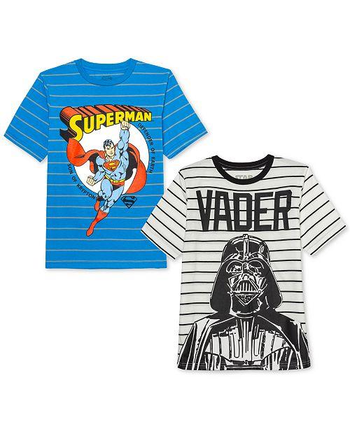 Jem Big Boys Star Wars Darth Vader Stripe T-Shirt & DC Comics Superman Stripe T-Shirt