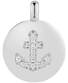"CHARMBAR™ Swarovski Zirconia Anchor ""Be Strong"" Reversible Charm Pendant in Sterling Silver"